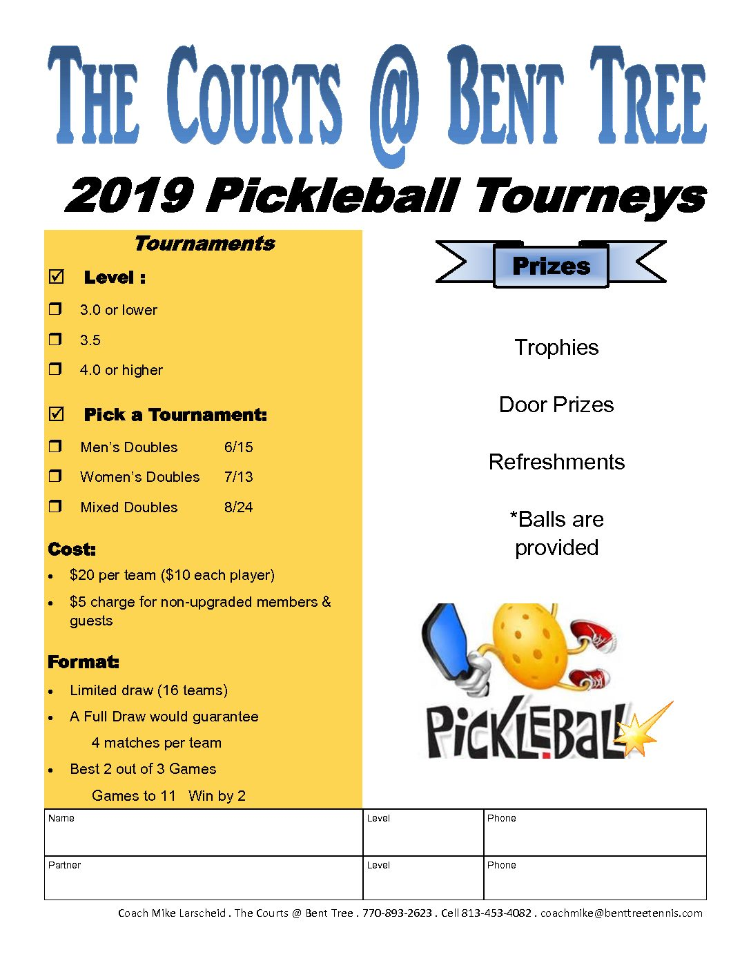 Men's Pickleball Tourney